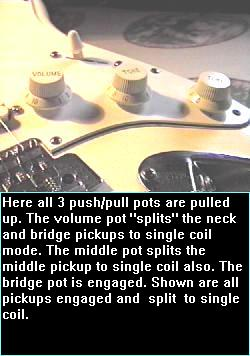 Push/Pull pots raised - change humbucking to single coil sound.