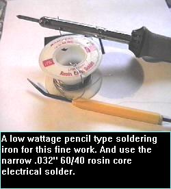 Solder iron and .032 rosin core solder.